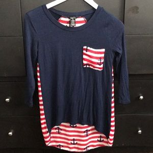 Red, White, & Blue Anchor 3/4 Sleeve Blouse